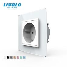 Power-Socket Glass-Panel Livolo Wall No-Logo VL-C7C1EU-11 White Standard 16A Crystal