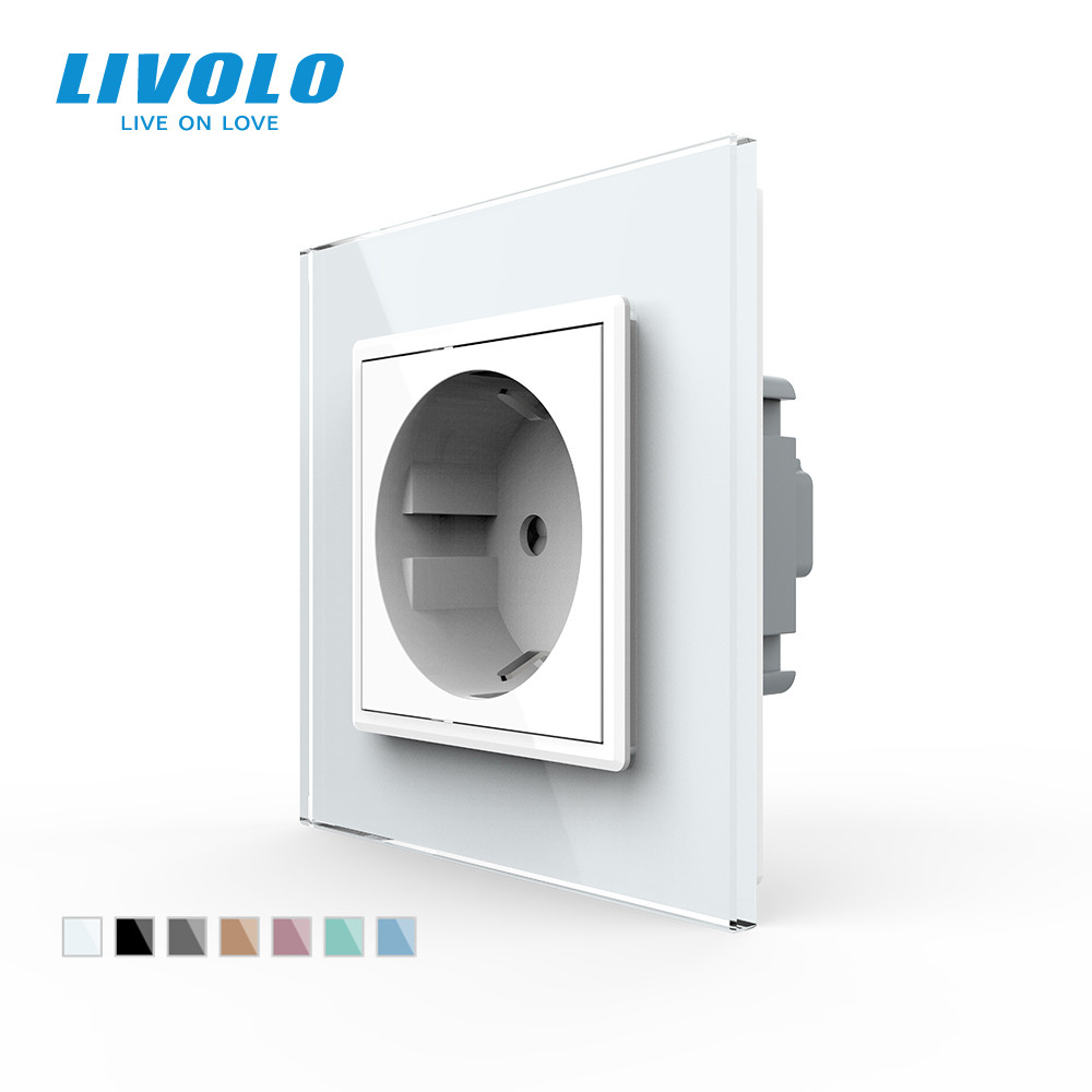 Livolo EU Standard Power Socket White Crystal Glass Panel AC 110 250V 16A Wall Power Socket VL-C7C1EU-11no logo