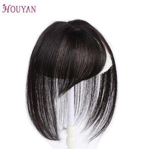 Image 4 - Houyan 黒ブラウン本物の人間の髪 3D 前髪クリップ前髪 100% 人毛前髪クリップワンピース striaght フリンジかつら