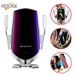 Kisscase 自動クランプ急速充電自動車電話ホルダー iphone 11 7 サムスンの携帯電話 10 ワット無線車充電器