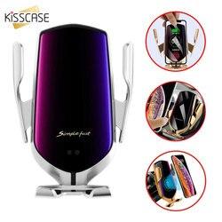 Kisscase aperto automático de carregamento rápido suporte do telefone do carro para o iphone 11 7 para samsung celular 10 w carregador de carro sem fio
