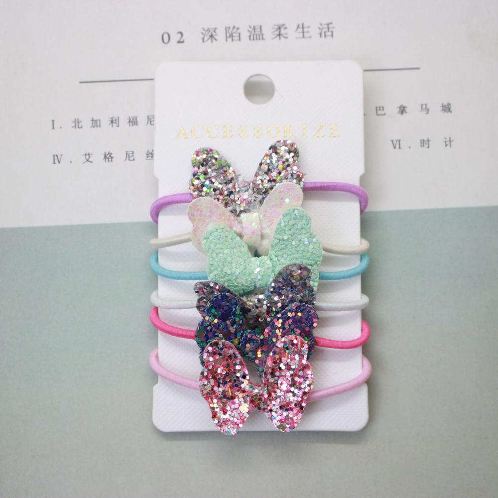 Cute Children's Shiny Hair Rope Bow Tie Pentagram Princess Girl Ponytail Headband Hair Accessories