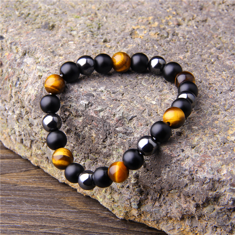 Natural Black Obsidian Hematite Tiger Eye Beads Bracelets Men for Magnetic Health Protection Women Jewelry Pulsera Hombre 4