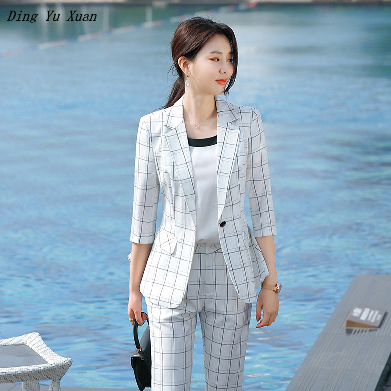 2 Two Piece Office Set Women Elegant White Black Plaid Blazer Pants Suits Womens Business Formal Work 1/2 Sleeve Jacket Outfits