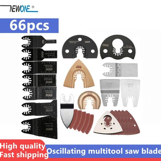 Newone 66 חבילה עץ מתכת נדנוד Multitool מהיר שחרור מסור להבי Fit לפיין שחור & Decker בוש אומן Dewalt