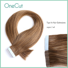 Mini Tape In Hair Extensions Natural Straight Remy Human Hairpieces Micro Interface Double Sided Seamless Adhesive Glue Brown