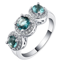 Exquisite Silver Round Cut Green Gems Rings Bridal Wedding Rings Engagement Jewelry Birthstone Ring Lover's Gifts