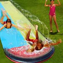 2020 New 6.1M Inflatable Water Slide Double Racer Pool Kids Summer Park Backyard Play Fun Outdoor Splash Slip Slide Wave Rider