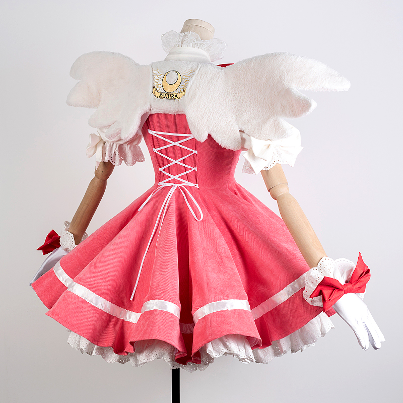 New Anime Cardcaptor Sakura Cosplay Costume Kinomoto Sakura Luxury Pink Dress Corduroy Carnival Halloween Costumes For Women