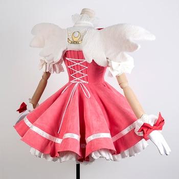 цена на New Anime Cardcaptor Sakura Cosplay Costume Kinomoto Sakura Luxury Pink Dress Corduroy Carnival Halloween Costumes for Women