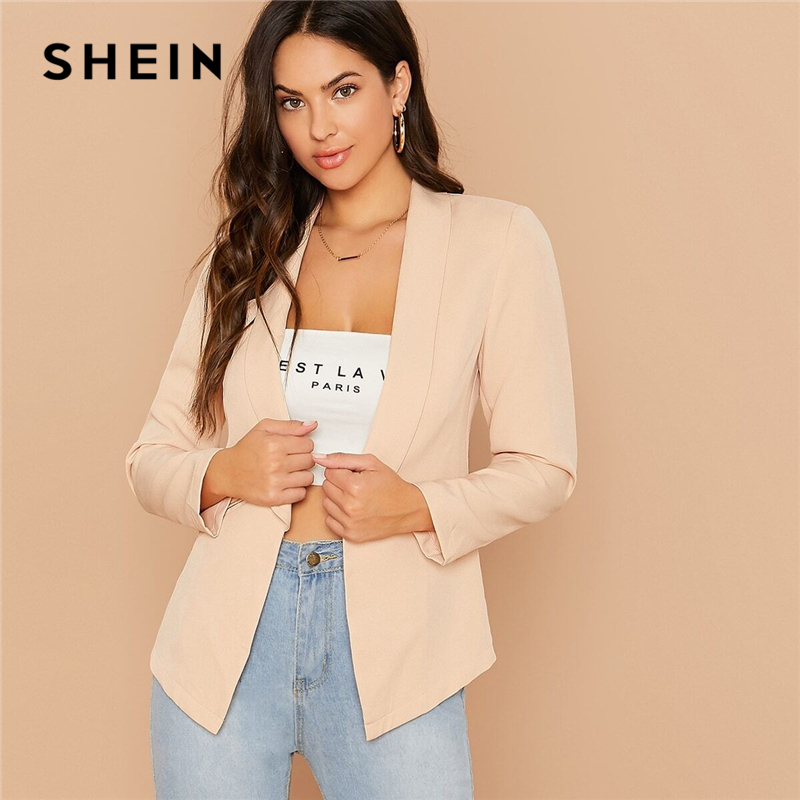 SHEIN Solid Shawl Collar Form Fitted Elegant Blazer Women 2019 Autumn Long Sleeve Office Ladies Open Front Basic Blazer Coats