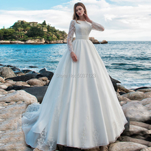 Mangas compridas vestido de baile pérola cetim vestidos de casamento o decote apliques de renda aberto para trás vestido de noiva robe de mariée tribunal trem