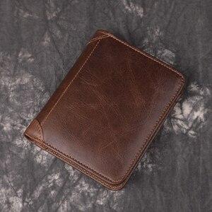 100% натуральная кожа с натуральным лицевым покрытием мужской кошелек s держатель для карт кошельки персонализированные кожаные короткие ко...