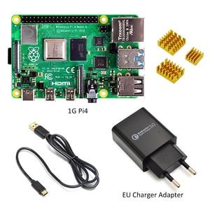 raspberry pi 4 model kit-1GB RAM BCM2711 Quad core Cortex-A72 ARM v8 1.5GHz with EU/US type-c power charger+ Pi 4 heatsink