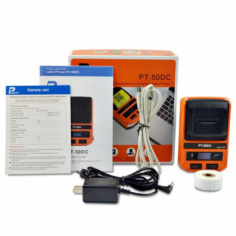 PUTY Label Drucker PT-50DC Volle Automatische Bluetooth Maschine Drahtlose Thermische Empfang Label Drucker MINI Mobile Tragbare Drucker