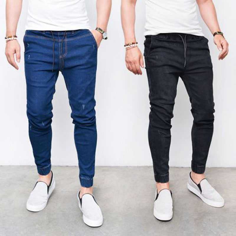 2019 Men's Harem Jeans Washed Feet Shinny Denim Black Pant Hip Hop Sportswear Elastic Waist Joggers Pants Plus Size 4XL