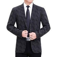 Blazer Men Costume Coat Jacket Wedding-Suit Business Long-Sleeve Print Party Male Luxury
