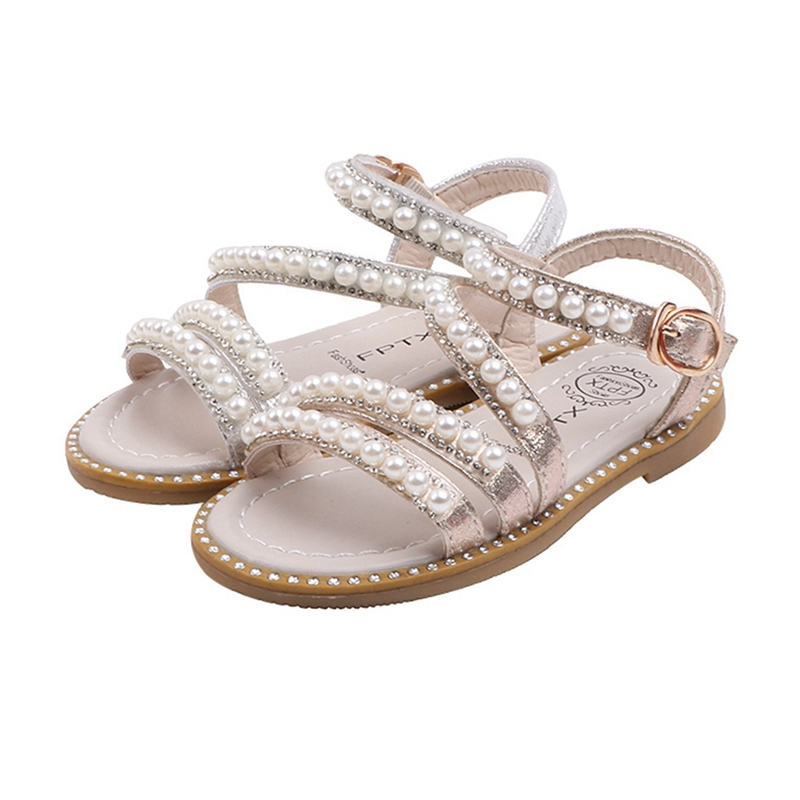 Summer Baby Girls Wild Pearl Open-toed Princess Shoes Sandals Non-slip Soft Bottom Kids Girls High Quality Sandals