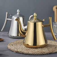 1L/1.5L Edelstahl Wasserkocher Teekanne Dicker Mit Filter Hotel Tee Topf Kaffee Topf Induktion Herd Tee Wasserkocher gold Silber