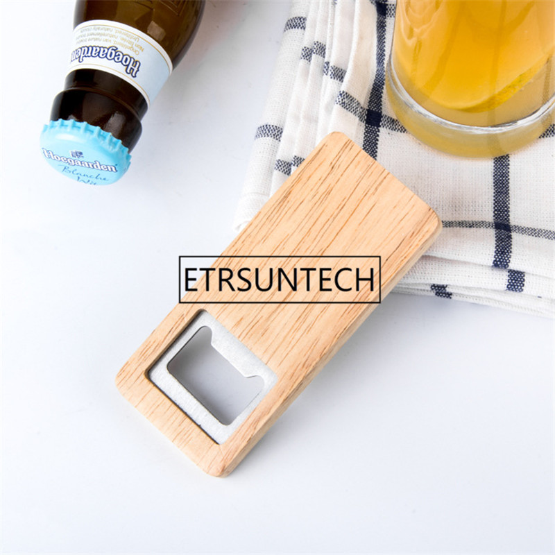 100pcs/lot High Quality Beer Bottle Opener Wooden Handle Stainless Steel Square Openers Eco Friendly Anti Scald Lightweight