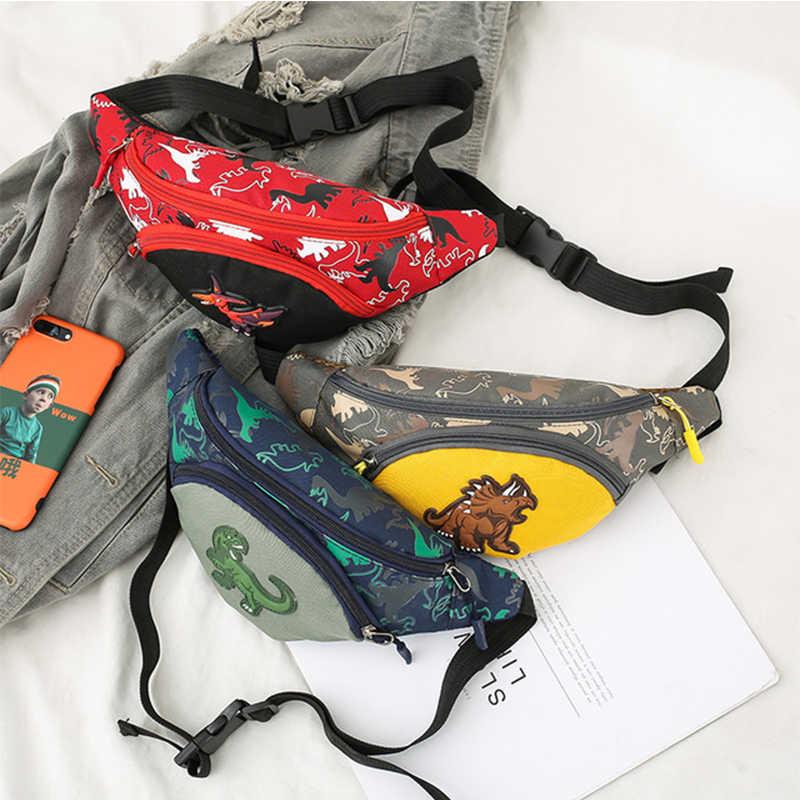 เด็กน่ารักเอวกระเป๋าสำหรับสาวแฟชั่น Fanny Pack อะนิเมะไดโนเสาร์กระเป๋าเด็กกระเป๋าเข็มขัดเงินเด็กซิปเอว