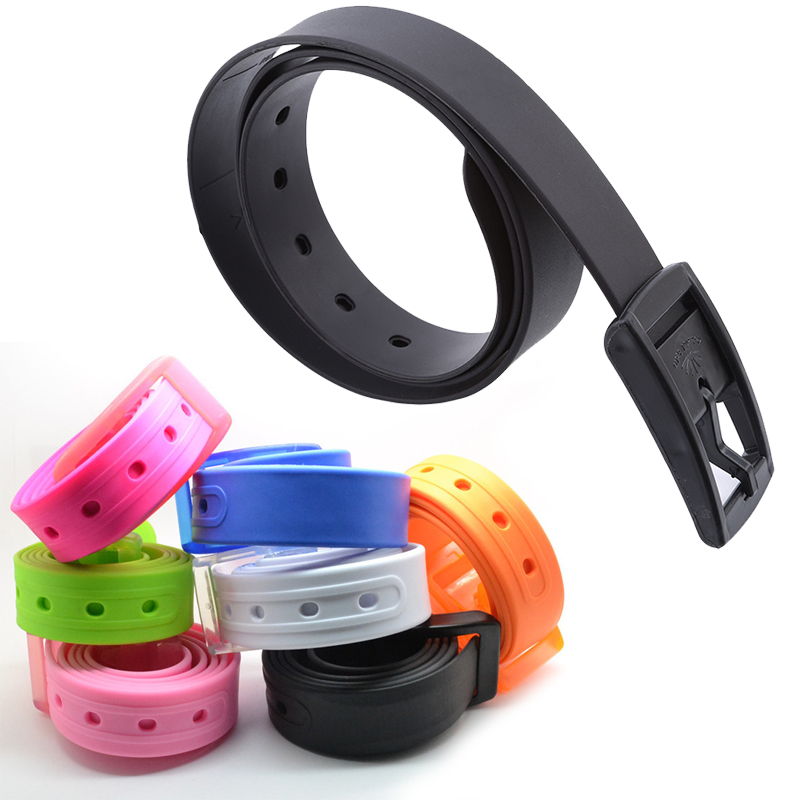 2019 Fashion Plastic Belt Friendly Candy Multi Color Silicone Rubber Leather Belt Smooth Buckle For Women Men Adjustable