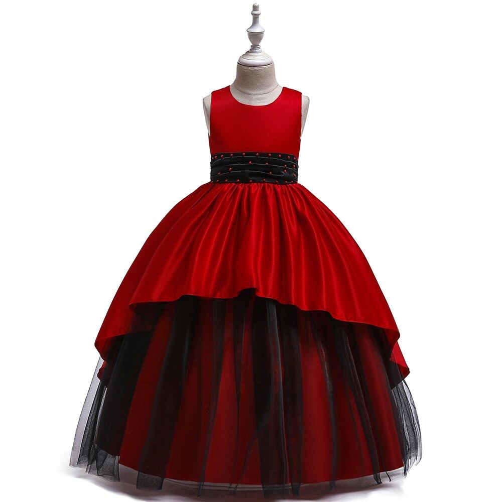 Children's Dress Princess Skirt Long New Girls Black Mesh Gown Fluffy Evening Dress Satin Mop Dress