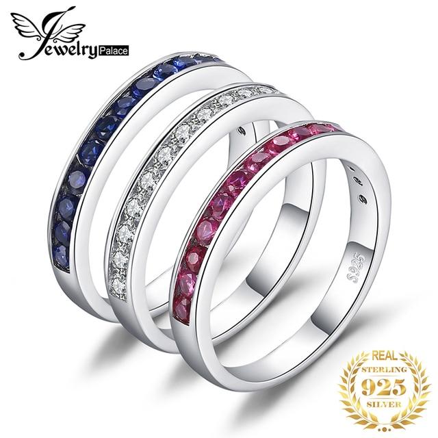 Créé rubis saphir anneaux de mariage ensemble 925 bagues en argent Sterling pour les femmes anniversaire éternité empilable bande anneau ensemble bijoux