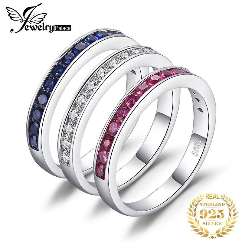 Created Ruby Sapphire Wedding Rings Set 925 Sterling Silver Rings For Women Anniversary Eternity Stackable Band Ring Set Jewelry