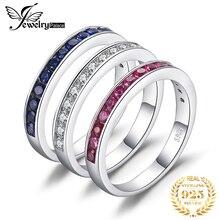 Utworzono Ruby Sapphire zestaw pierścieni ślubnych 925 srebro pierścionki dla kobiet rocznica wieczność wieżowych zestaw pierścieni zespołu biżuteria