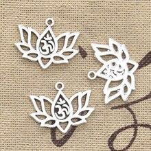 20 pçs encantos flor de lótus yoga om 21x17mm antigo prata cor pingentes diycrafts fazendo descobertas artesanal tibetano jóias