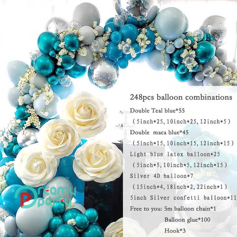 Teal Gold and Gold Confetti Latex Balloons Teal Balloons Tissue Pom Poms Teal