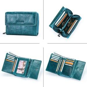 Image 4 - קשר של RFID ארנק עור אמיתי מטבע ארנק קטן ארנקי נשים מחזיק כרטיס רוכסן כסף תיק עבור בנות cartera