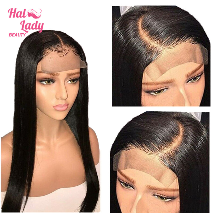 4x4 Lace Closure Wig Peruvian Closure Lace Front Wigs 10 to 24 Preplucked Straight Human Hair