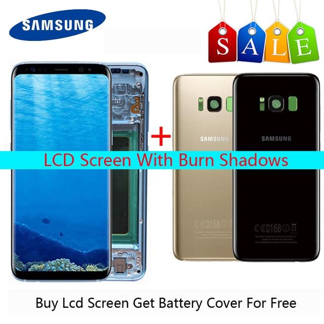 Super AMOLED สำหรับ Samsung Galaxy S8 LCD S8 PLUS จอแสดงผล LCD G950 G950F G955fd G955F BURN in SHADOW หน้าจอของขวัญ S8 ปกหลัง