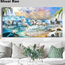 diamond embroidery waterfall horse landscape 5D DIY full diamond painting drill 3d rhinestone mosaic large size wall decor,
