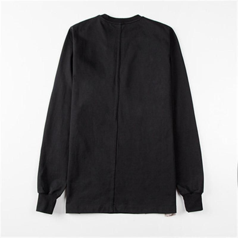 2019ss Men 100% Cotton Women Full Sleeve Shirts Ro Tops Tees Owen Gothic Black High Street Patchwork Shirts Camisetas Hombre - 2