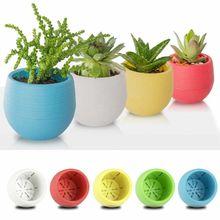 Креативный экологически чистый красочный мини круглый пластиковый цветочный горшок для растений садовый домашний офисный декоративный горшок для цветов
