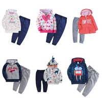 Ropa de bebé niño de manga larga chaqueta con capucha + Pantalones trajes de chica de bebé conjunto de ropa de Otoño de 2020 disfraz 2 unids/set de algodón