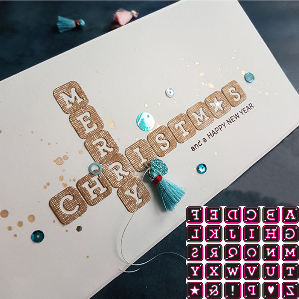 26PCS Tags Alphabet Letters Metal Cutting Dies Stencil Scrapbooking DIY Album Stamp Paper