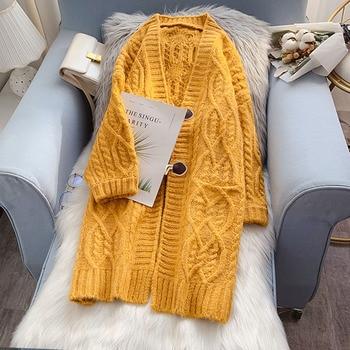 2020 Long Cardigan Women Sweater Autumn Winter Long Sleeve Knitted Sweater Jacket Loose Ladies Jacket Cardigans Blue Red 2020 long cardigan women sweater autumn winter bat sleeve knitted sweater plus size jacket loose ladies sweaters cardigans