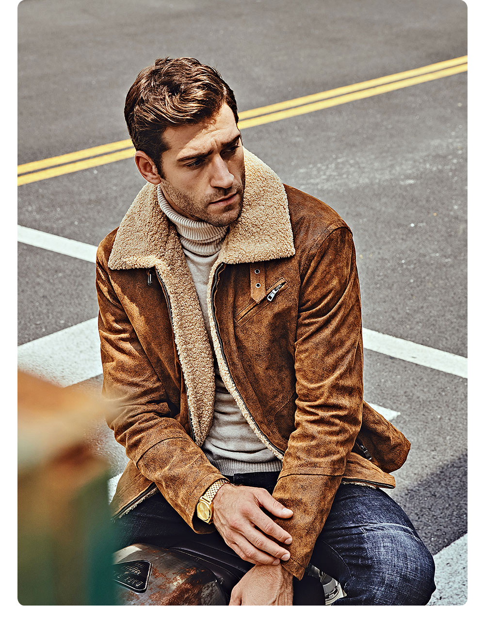 H56369c098c9d48d3afc96429839f126fv FLAVOR New Men's Genuine Leather Motorcycle Jacket Pigskin with Faux Shearling Real Leather Jacket Bomber Coat Men