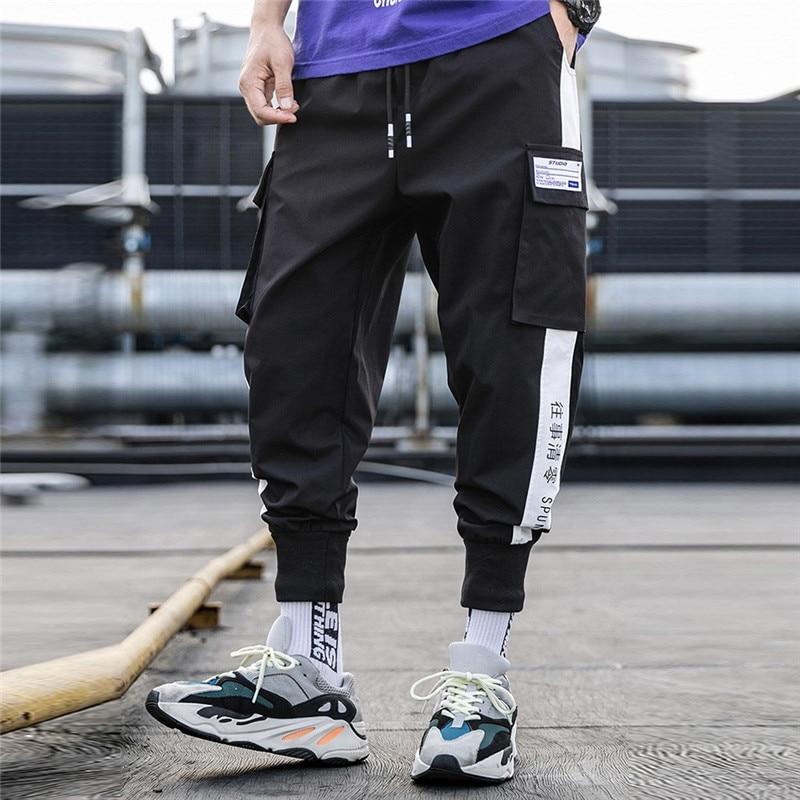 2019 Pockets Cargo Pants Men Color Patchwork Casual Jogger Fashion Tactical Trousers Tide Harajuku Streetwear Casual Mens Pants