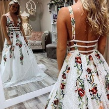 Wedding-Dresses Special-Occasion Wear Beaded Floral-Flowers Lace Appliques Split White