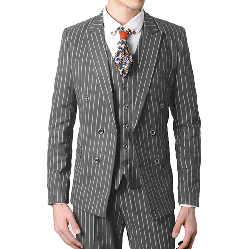 Double Breasted Groomsmen Grey With White Stripes Groom Tuxedos Peak Lapel Men Suits ( Jacket+Pants+Vest+Tie )
