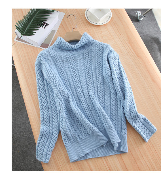 Smpevrg lady thick knitted sweater female pullover long sleeve turtleneck warm women sweater knit tops pullovers women jumpers 19