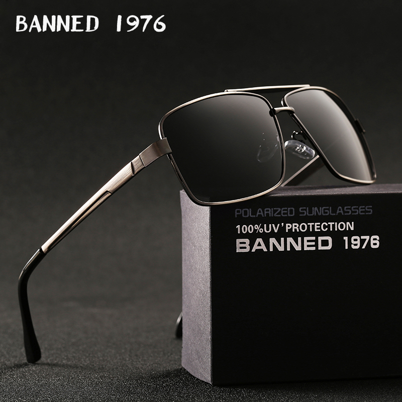BANNED 1976 Brand Designer Rectangle Rectangle Sunglass Mens Driving Sun GlassesClassic design Fashion Polarized Sunglasses image