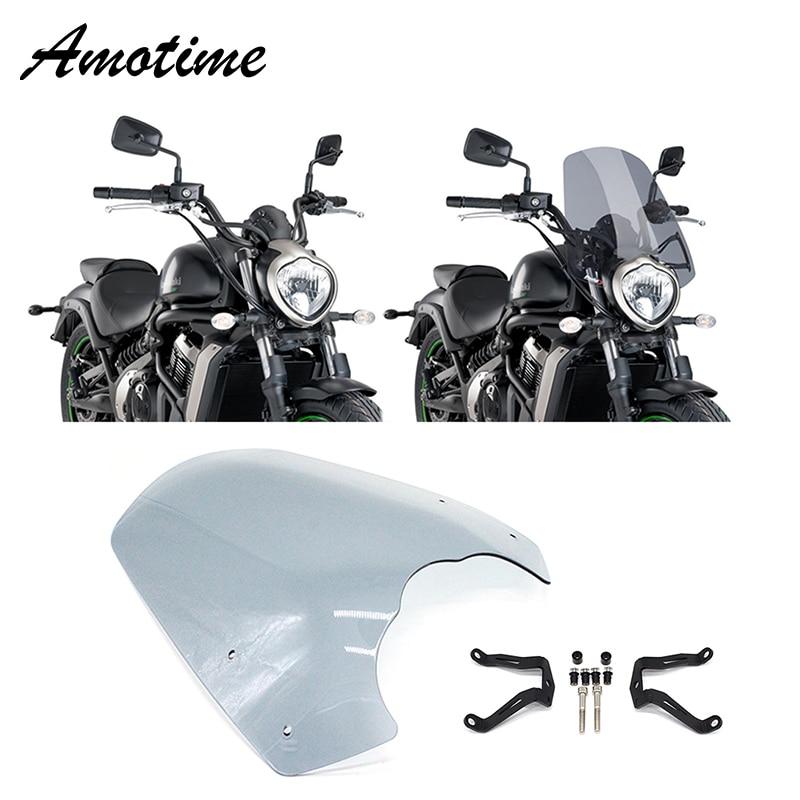 Motorcycle Accessories Windscreen Windshield Screen W/ Bracket For Kawasaki Vulcan S EN 650 2015-2018 New Arrival
