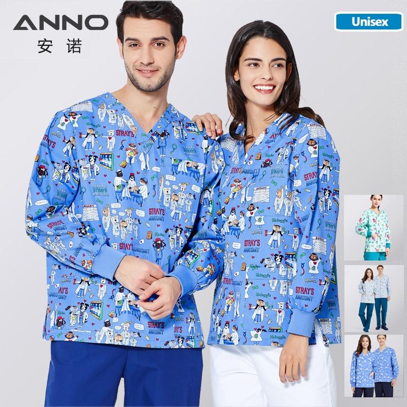 ANNO Medical Scrubs Set Print Out Coat Long Sleeve Nurse Uniform Outwear Winter Medical Suits For Women Men Outfit Doctor Jacket