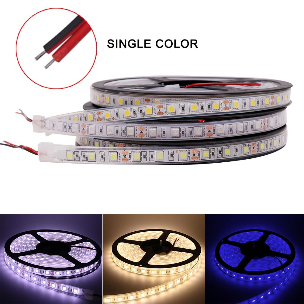 5m/lot LED Strip DC 12V 5050 SMD Led Strip Light 60Leds/m IP67 Tube Waterproof Ribbon Tape RGB/White/Warm White/Red/Blue/Green